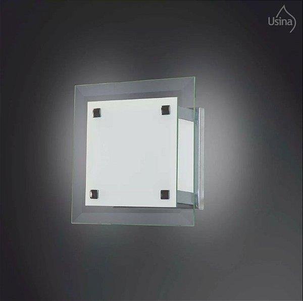 Arandela Interna Quadrada Vidro Temperado Transparente 15x15 Usina Design G9 30/1 Corredores e Salas