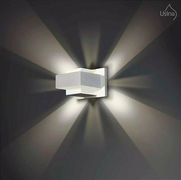 Arandela Interna Branca Retangular Alumínio 8x10 Jasmim Usina Design G9 5065/10 Quartos e Salas