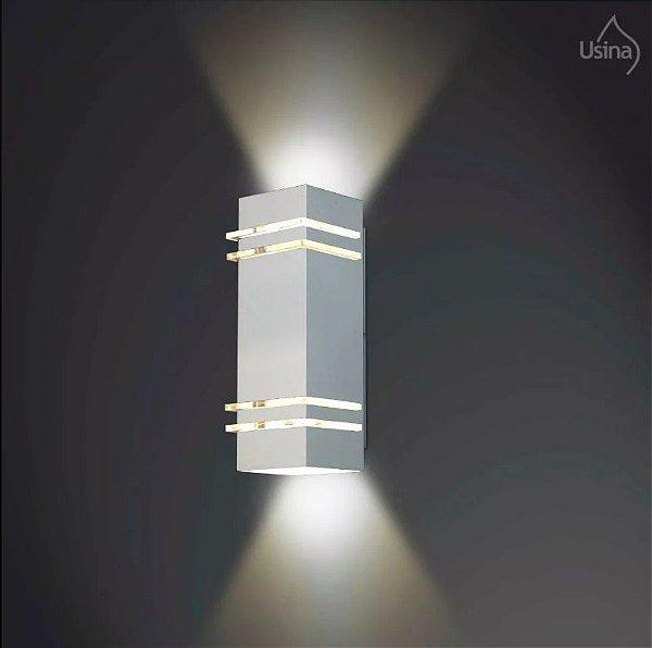 Arandela Retangular Externa Alumínio Fosco Decorativa 10x40 Amarilis Usina Design E-27 5235/40 Muros e Jardins