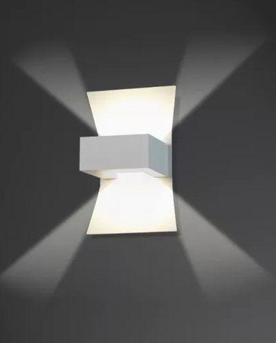 Arandela Retangular Alumínio Fosco Luz Frontal Decorativa Vidro 15x23 Malta Usina Design G9 5301/1 Corredores e Salas