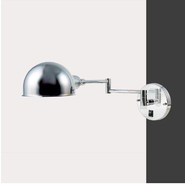 Arandela Interna Articulada Alumínio Cromado Cúpula Redonda 14x50 Juddy Golden Art G9 P204 Quartos e Salas