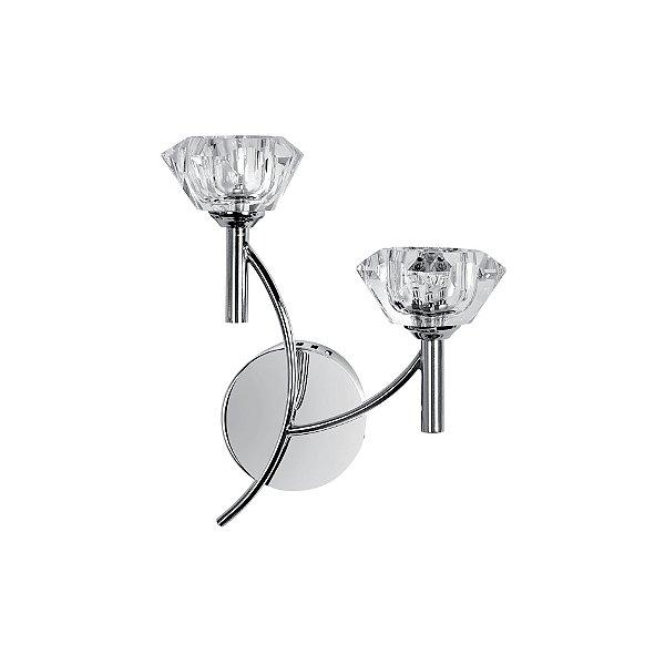 Arandela Interna Floral Cristal Transparente Inox Cromado 10x27 Maestro InBologna Luciin G4 ZG052/2 Quartos e Salas