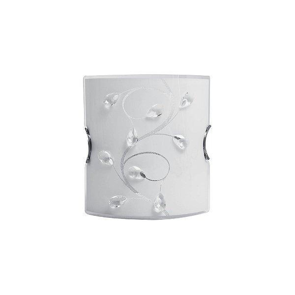 Arandela Interna Vidro Jateado Branco Cristal 20x22 Maestro InRomagna Luciin E-27 KG012 Corredores e Quartos