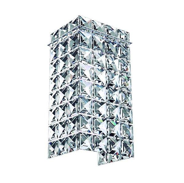 Arandela Interna Retangular Inox Espelhado Cristal K9 Transparente 10x15 New Design G9 603M Quartos e Salas