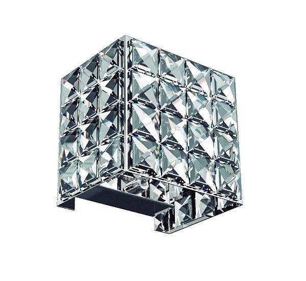 Mini Arandela Interna Box Quadrada Inox Cristal Transparente Kit 2 Pçs 9x9 New Design G9 602p Corredores e Quartos