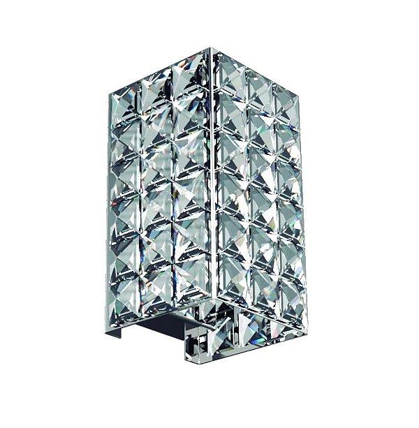 Mini Arandela Interna Retangular Inox Cristal k9 Transparente 7x14 New Design G9 601/P Corredores e Salas