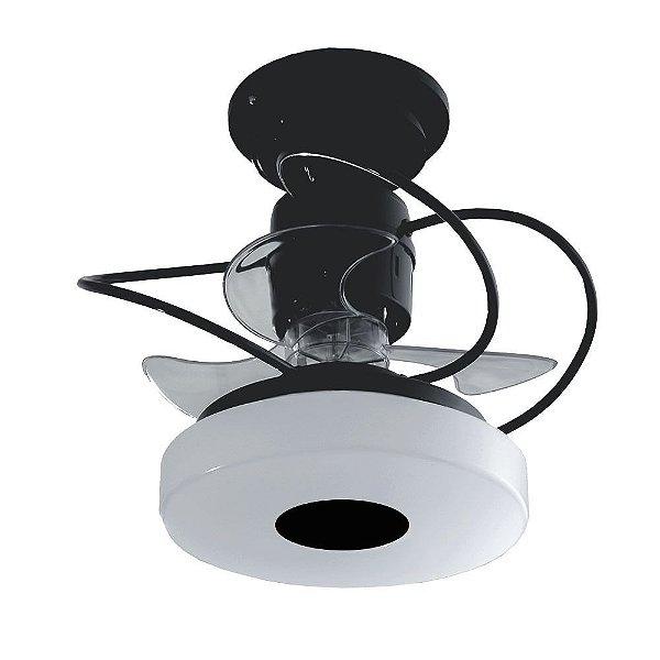 Ventilador Teto Lustre Mônaco Preto Controle Remoto Luminaria Quarto Sala Cozinha Loja Treviso TRV10