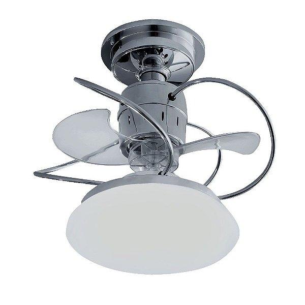 Ventilador Teto Lustre Atenas Cromado Luminaria Controle Remoto Sala Quarto Cozinha Loja Treviso TRV25