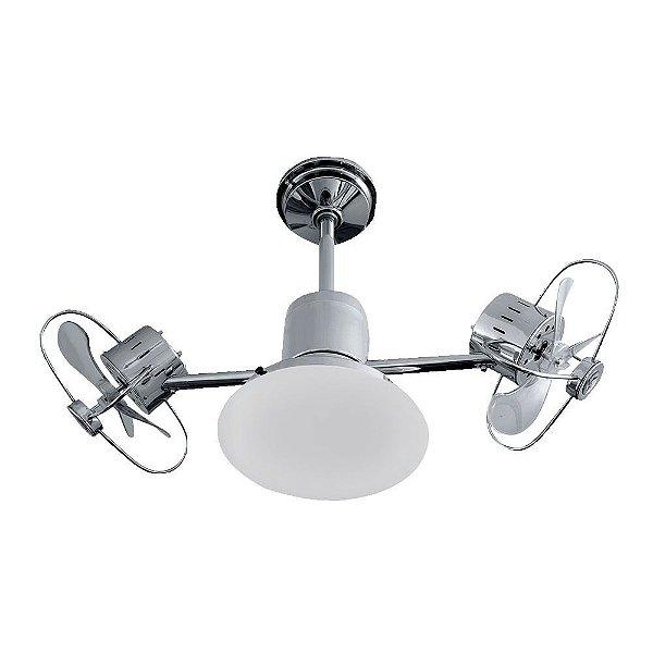 Ventilador Teto Lustre Infinit Plus Cromado Controle Remoto Led 18w Sala Quarto Cozinha Treviso TRV61