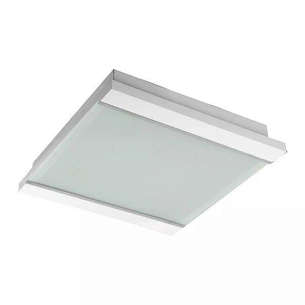 Plafon Embutido Sobrepor Branco Luminária 28x28 Madeira Sala Comercial Led Madelustre 2393
