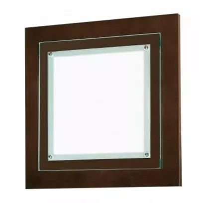 Plafon Monalisa Embutido 37x37 Led 18W Branco Quente Madeira Vidro Sala Madelustre 27-18A