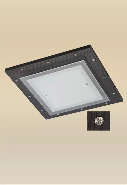 Plafon Monalisa Embutido Preto Strass 37x37 PLACA LED 18W Frio Madeira Vidro Madelustre 2335-18B-PT