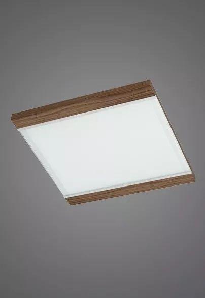 Plafon Embutido  Luminária 50x50 Madeira Vidro Sala Comercial Led Madelustre 2409