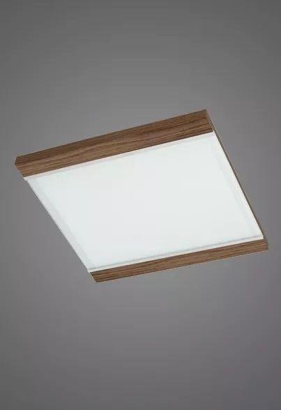 Plafon Embutido  Luminária 40x40 Madeira Vidro Sala Comercial Led Madelustre 2408