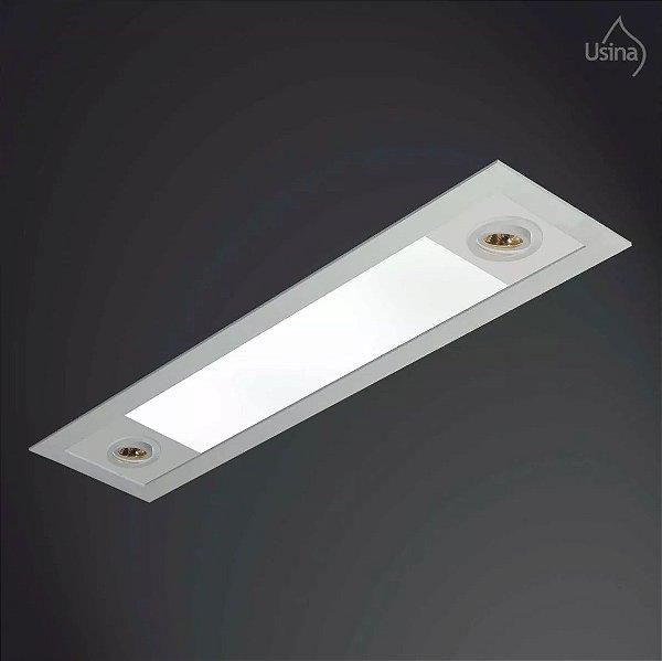 Plafon Embutido Retangular Alumínio Bivolt 20x1,5m Ruler Usina Design T8 AR 70 3721/150F Cozinhas e Quartos