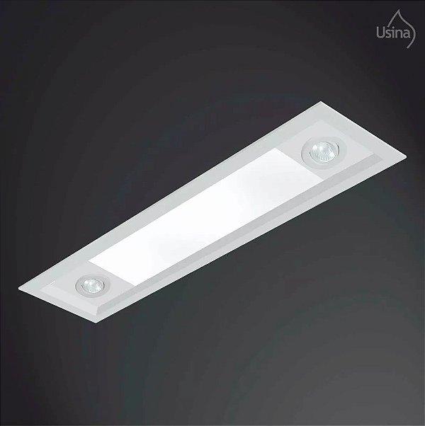 Plafon Embutido Retangular Alumínio Bivolt 16x1,5m Suprema Usina Design T8 Dicróica 3016/150F Quartos e Salas