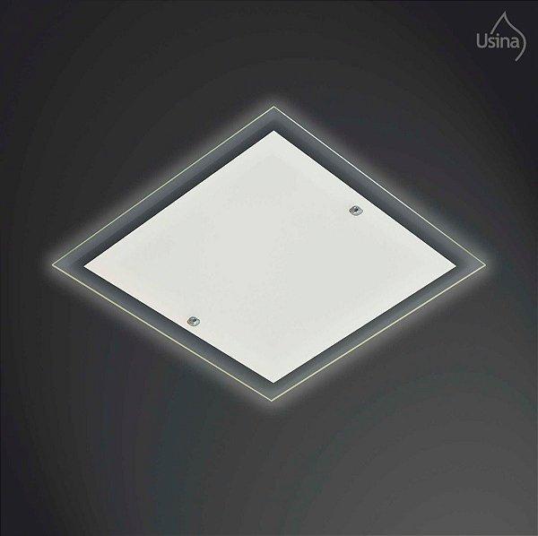 Plafon Embutido Quadrado Vidro Transparente Bivolt 20x20 Omega Usina Design E-27 40/1 Quartos e Salas