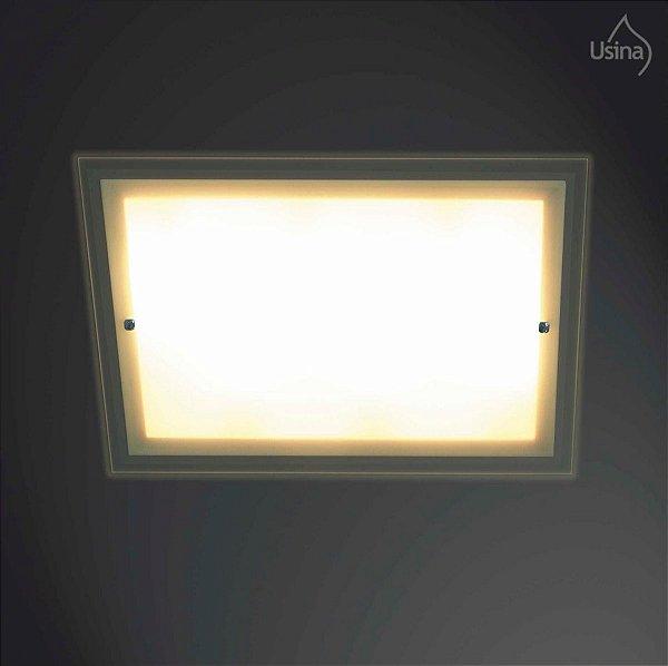 Plafon Embutido Retangular Vidro Temperado Bivolt 35x45 Omega Usina Design E-27 45/4 Banheiros e Cozinhas