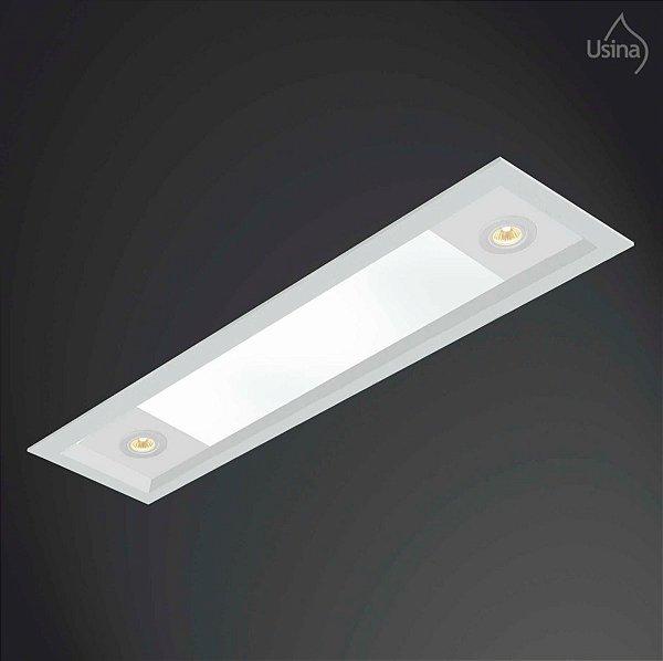 Plafon Embutido Retangular Acrílico Leitoso Bivolt 20x90 Ruler Direct Usina Design T8 Par 20 3020/90f Cozinhas e Quartos