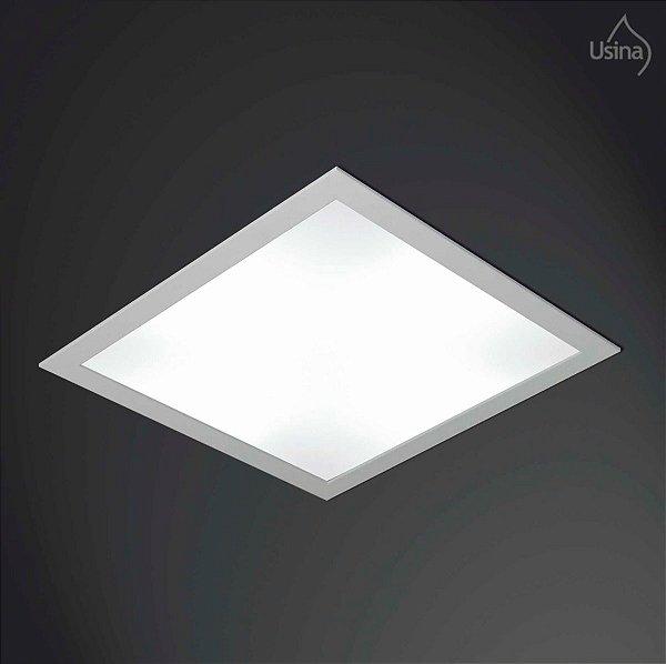Plafon Embutido Quadrado Acrílico Luminária Bivolt 38x38 Ruler Usina Design E-27 3700/38 Banheiros e Salas