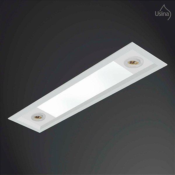 Plafon Embutido Retangular Alumínio Bivolt 20x1,5m Usina Design T8 AR 70 3021/150f Banheiros e Cozinhas