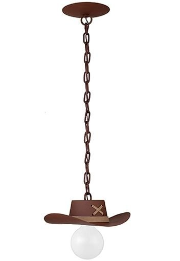 Pendente Rústico Madeira Maciça Esculpida Chapéu Cowboy Madelustre E-27 2618 Salas e Sítios