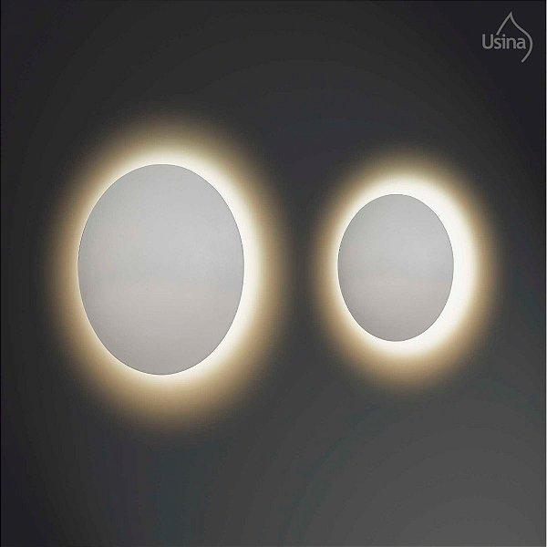 Arandela Interna Redonda Alumínio Curva Branca Luz Indireta Ø20 Eclipse Usina Design G9 239/20 Quartos e Salas