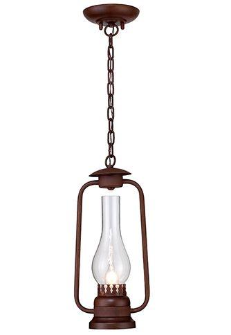 Pendente Rústico Lampião Metal Envelhecido Oxidado Cúpula de Vidro 1m  Madelustre E-27 2624 Sítios e Entradas