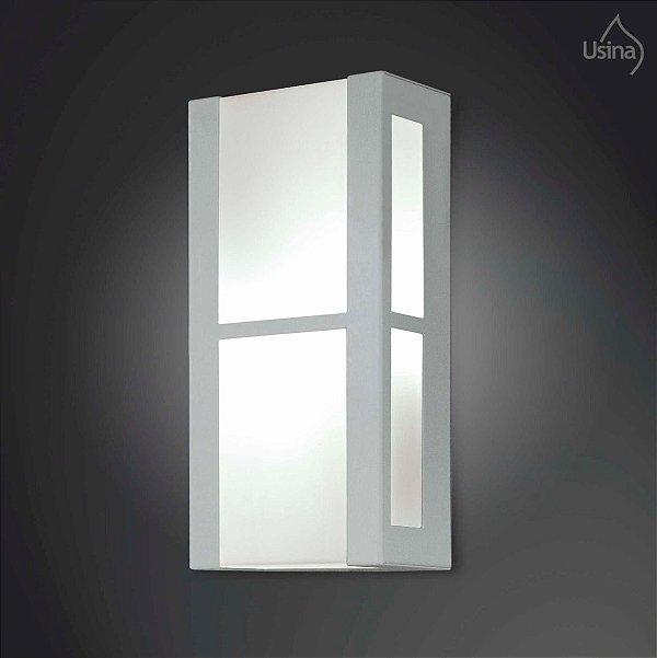 Arandela Interna Branca Retangular Decorativa Vidro 15x20 2012 Usina Design E-27 5125/20 Quartos e Salas