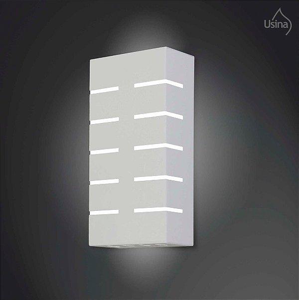 Arandela Interna Inox Branca Retangular Decorativa Listrada 15x20 2012 Usina Design E-27 5140/20 Banheiros e Cozinhas