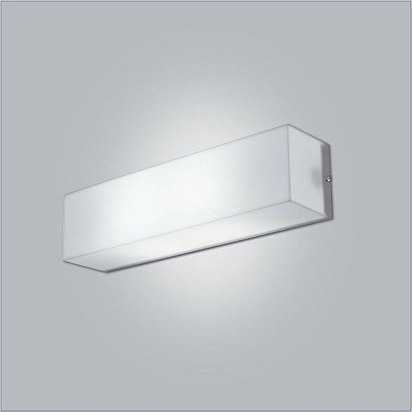 Arandela Retangular Acrílico Leitoso Branco Tecido 10x61 Polar Usina Design E-27 10110/61 Quartos e Salas