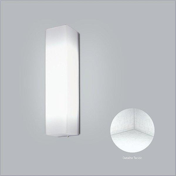 Arandela Interna Retangular Branca Tecido Cristal 10x31 Polar Usina Design E-27 10410/31 Corredores e Quartos