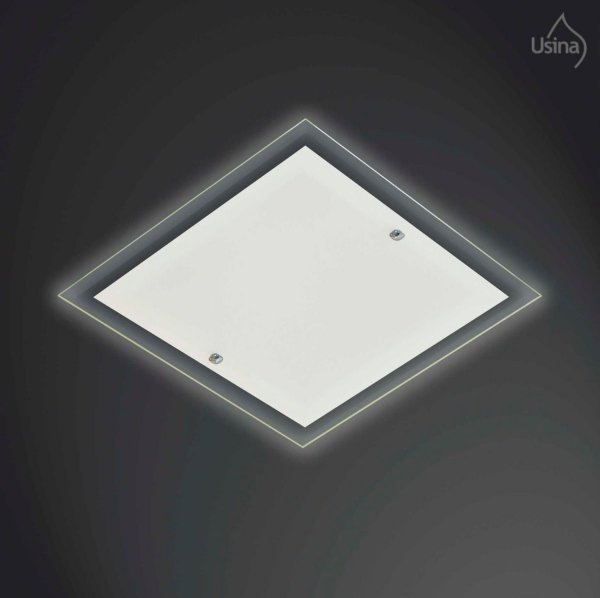 Plafon Embutido Vidro Bisotê Quadrado Bivolt 35x35 Omega Usina Design E-27 42/3 Banheiros e Cozinhas