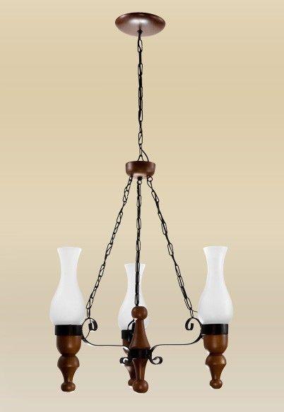 Lustre Rústico Vintage Madeira Maciça Esculpida Cúpula Vidro 3 Lâmpadas Ø50x1m Medieval Madelustre E-27 2095-3 Salas e Sítios
