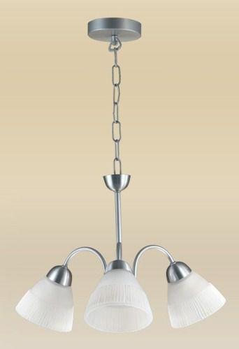 Lustre Alumínio Escovado Cúpula Tulipa Vidro Alabastro Branco 3 Lâmpadas Ø49cm Madelustre E-27 2078-3 Cozinhas e Salas