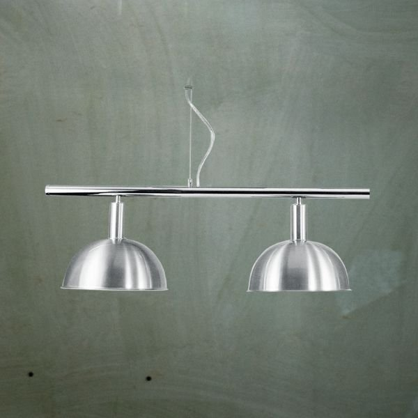 Pendente Bilhar Sinuca Duplo 1/2 Esfera Alumínio Escovado 2 Lâmpadas 29x90 Golden Art E-27 T143-2 Salas e Hall