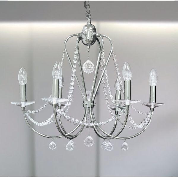 Lustre Gally Cristal Candelabro Cromado Vela Luminária Pendente Sala Comercial Quarto Cozinha T149-6