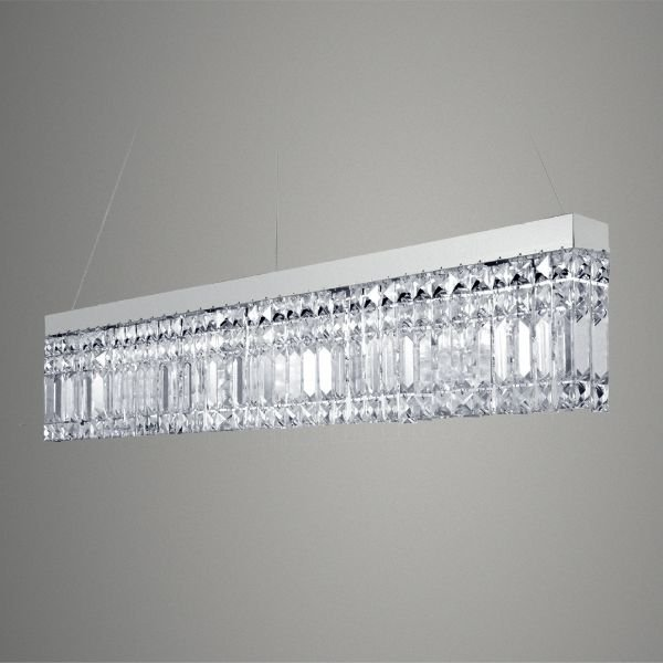 Pendente Retangular Canaleta Aço Escovado Cristal Lapidado Transparente 80x5 Golden Art G9 T288 Entradas e Hall