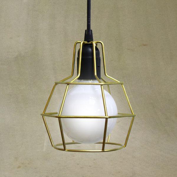 Pendente Aramado Dourado Decorativo Ø14 Pucon Golden Art E-27 T203-1 Quartos e Salas