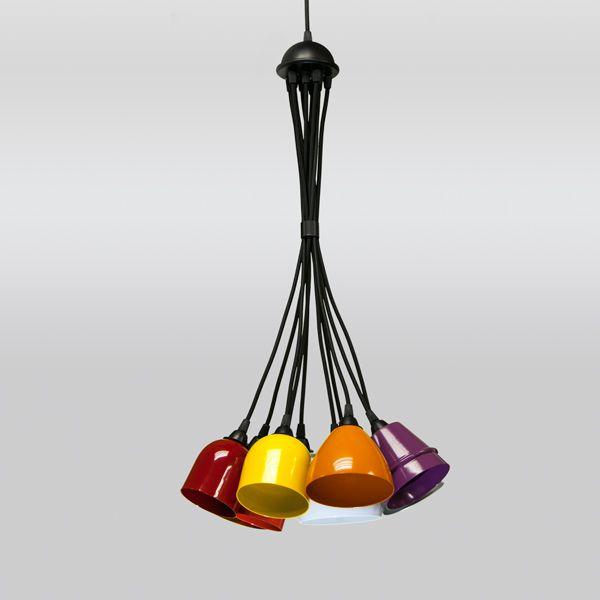 Lustre Design Moderno Cacho Colorido Alumínio Cabo PP Ø40x1m Mix Golden Art G9 T205-10 Entradas e Salas