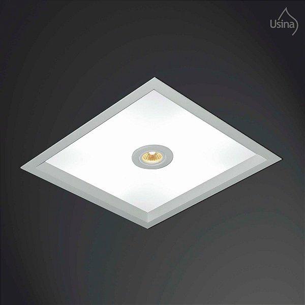 Plafon Embutido Quadrado Branco Acrílico Bivolt 32x32 Suprema Usina Design Dicróica E-27 3002/32 Banheiros e Salas