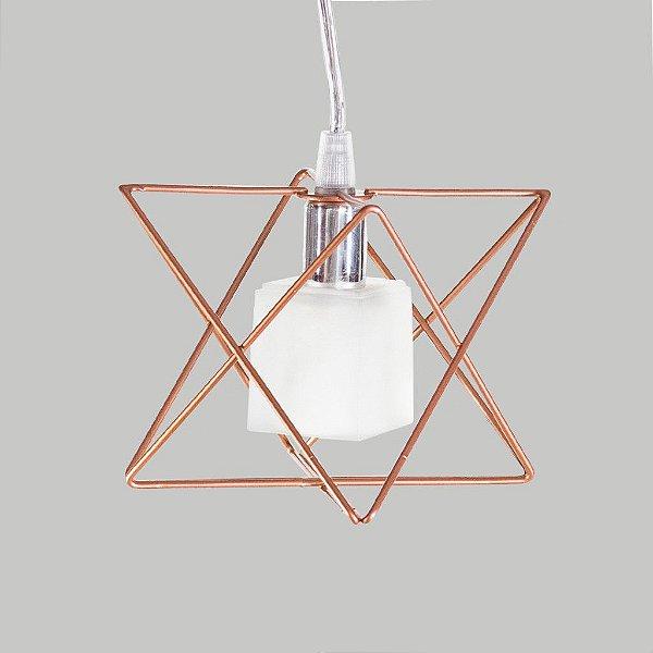 Pendente Aramado Estrela Cúpula Quadrada Gelo 11x11 Golden Art G9 T244-1 Quartos e Salas