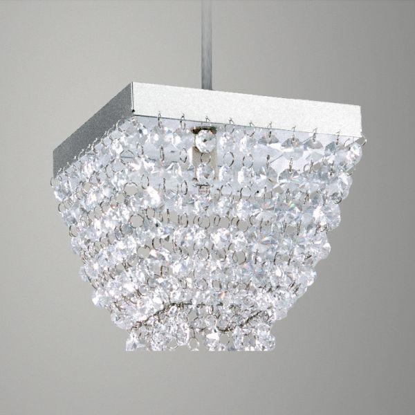 Pendente Aço Escovado Quadrado Cristal Transparente 15x15 Golden Art G9 T282 Quartos e Hall