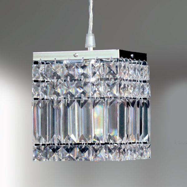 Pendente Quadrado Aço Escovado Cristal Lapidado Translúcido 13x13 Laila Golden Art G9 T921 Entradas e Quartos