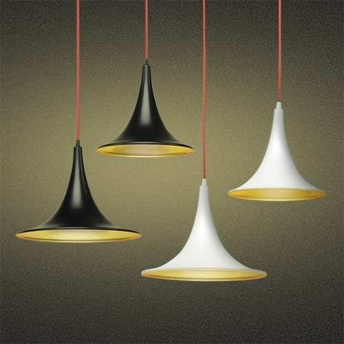 Pendente Alumínio Colorido Decorativo Cabo PP Regulável Tom Dixon 35x26 Mistt Golden Art E-27 T900-35 Quartos e Salas
