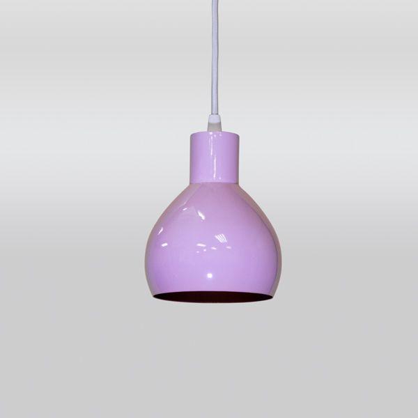 Pendente Redondo Alumínio Colorido Rosa Decorativo 12x16 Solel Golden Art E-27 T891 Cozinhas e Salas