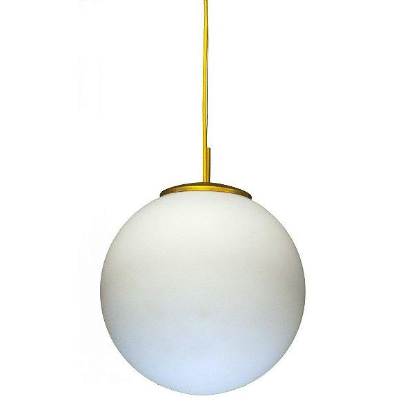 Pendente Vertical Colorido Amarelo Cúpula Bola Opalina Vidro Leitoso Ø35cm Golden Art E-27 T755-35 Entradas e Salas