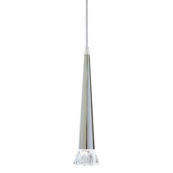 Pendente Design Moderno Cônico Alumínio Cromado Vidro Lapidado 25x1m Gioia Golden Art G9 T293-1 Cozinhas e Salas