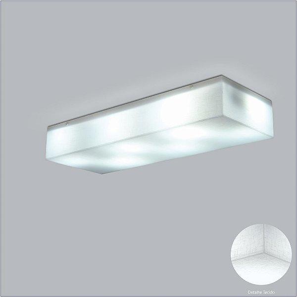 Plafon Retangular Acrílico Tecido Cristal Branco Sobrepor 28x69 Polar Usina Design E-27 10427/69 Corredores e Quartos