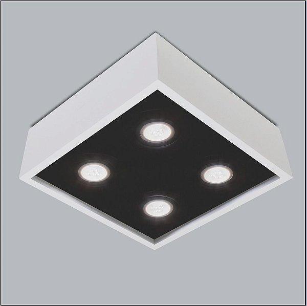 Plafon Sobrepor Quadrado Alumínio Branco e Preto 25x25 Premium Usina Design Dicróica 4500/25 Escritórios e Salas